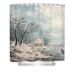 Landscape In Winter Shower Curtain by JJ Verreyt