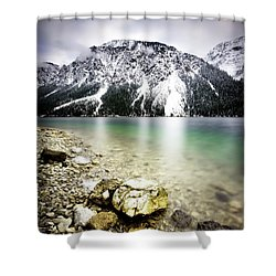 Landscape Of Plansee Lake And Alps Mountains During Winter, Snowy View, Tyrol, Austria. Shower Curtain