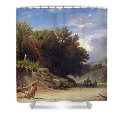 Landscape On The Outskirts Of Rome Shower Curtain by Jean Achille Benouville