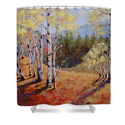 Shower Curtain featuring the painting Landscape Series 1 by Laura Lee Zanghetti