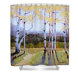 Shower Curtain featuring the painting Landscape Series 2 by Laura Lee Zanghetti