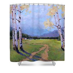 Shower Curtain featuring the painting Landscape Series 4 by Laura Lee Zanghetti