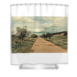 #landscape #stausee #path #road #tree Shower Curtain