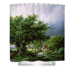 Landscape With A Mill Shower Curtain by Barend Cornelis Koekkoek