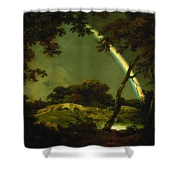 Landscape With A Rainbow Shower Curtain by Joseph Wright of Derby