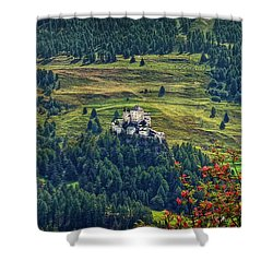 Shower Curtain featuring the photograph Landscape With Castle by Hanny Heim