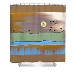 Landscape With Crows - Color Shower Curtain