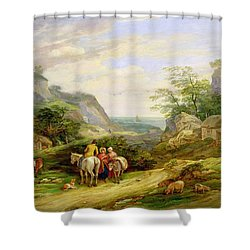 Landscape With Figures And Cattle Shower Curtain by James Leakey