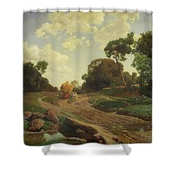 Landscape With Haywagon Shower Curtain by Valentin Ruths