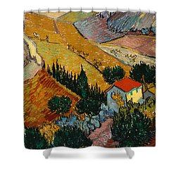 Shower Curtain featuring the painting Landscape With House And Ploughman by Van Gogh