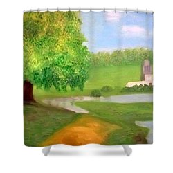 Landscape With Luxuriant Tree And Folly Shower Curtain
