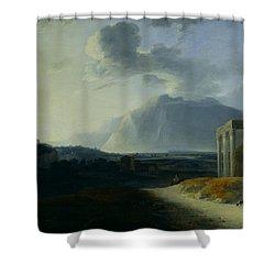 Landscape With Mount Stromboli Shower Curtain by Willem Schellinks