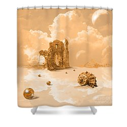Shower Curtain featuring the digital art Landscape With Shell by Alexa Szlavics