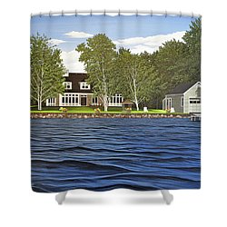 Shower Curtain featuring the painting Langer Summer Home Lake Simcoe by Kenneth M Kirsch
