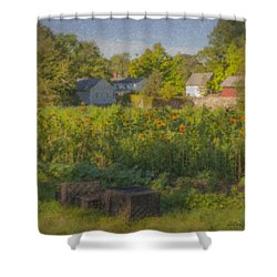 Langwater Farm Sunflowers And Barns Shower Curtain