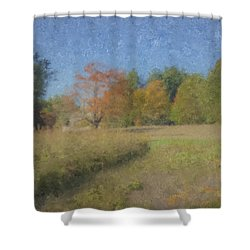 Langwater Farm With Pumpkins And Chateau Shower Curtain