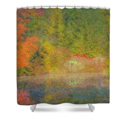 Langwater Pond Boathouse October 2015 Shower Curtain