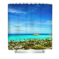 Lanikai Beach From The Pillbox Trail Shower Curtain