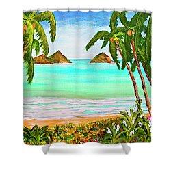 Lanikai Beach Oahu Hawaii #358 Shower Curtain by Donald k Hall