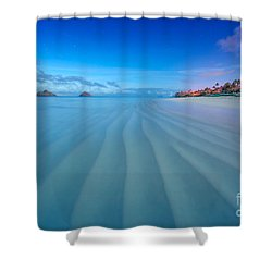 Lanikai Beach Ripples In The Sand Wide Shower Curtain