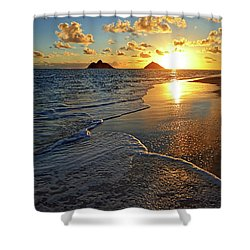 Lanikai Beach Sunrise Foamy Waves Shower Curtain