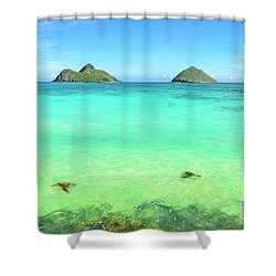 Lanikai Beach Two Sea Turtles And Two Mokes Shower Curtain