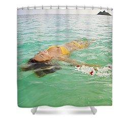 Lanikai Floating Woman Shower Curtain by Tomas del Amo - Printscapes