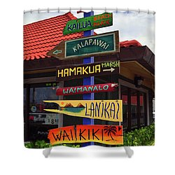 Lanikai Kailua Waikiki Beach Signs Shower Curtain