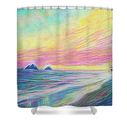 Shower Curtain featuring the painting Lanikai Sunrise by Angela Treat Lyon