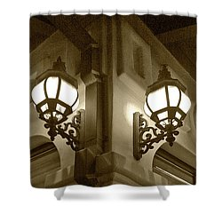 Shower Curtain featuring the photograph Lanterns - Night In The City - In Sepia by Ben and Raisa Gertsberg