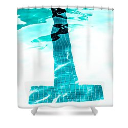Lap Lane - Swim Shower Curtain by Colleen Kammerer