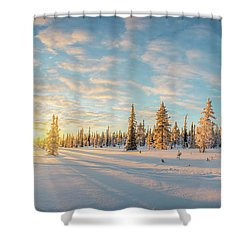 Shower Curtain featuring the photograph Lapland Panorama by Delphimages Photo Creations