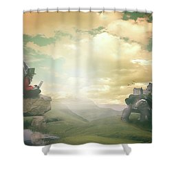 Shower Curtain featuring the digital art Laptop Dreams by Nathan Wright