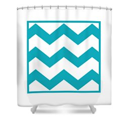 Large Chevron With Border In Robins Egg Blue Shower Curtain