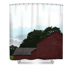 Large Red Barn Shower Curtain