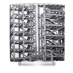 Shower Curtain featuring the photograph Large Scale Construction Project With Steel Girders by Yali Shi