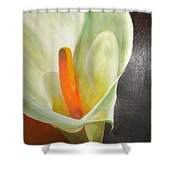Large White Calla Shower Curtain by Tracey Harrington-Simpson
