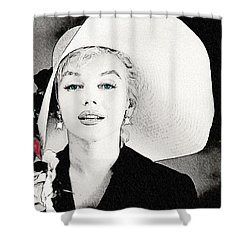 Large White Hat -marilyn Monroe  - Sketch Shower Curtain