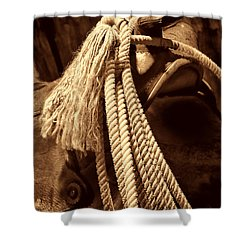 Lariat On A Saddle Shower Curtain by American West Legend By Olivier Le Queinec