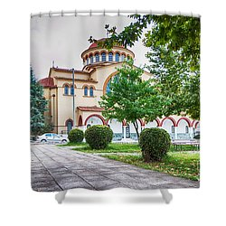 Larissa Old City Church Shower Curtain