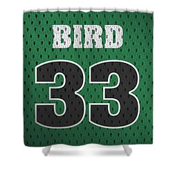Larry Bird Boston Celtics Retro Vintage Jersey Closeup Graphic Design Shower Curtain by Design Turnpike