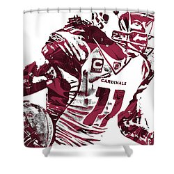 Shower Curtain featuring the mixed media Larry Fitzgerald Arizona Cardinals Pixel Art 1 by Joe Hamilton