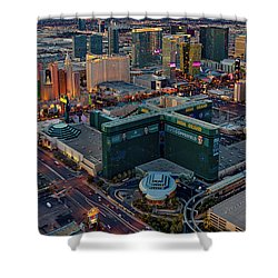 Shower Curtain featuring the photograph Las Vegas Nv Strip Aerial by Susan Candelario
