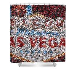 Las Vegas Sign Poker Chip Mosaic Shower Curtain by Paul Van Scott