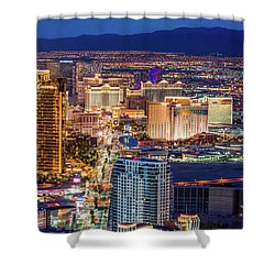 Shower Curtain featuring the photograph Las Vegas Strip From The Stratosphere Tower by Aloha Art