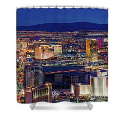 Shower Curtain featuring the photograph Las Vegas Strip From The Stratosphere Wide by Aloha Art