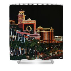 Las Vegas Strip Oil On Canvas Painting Shower Curtain