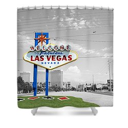 Las Vegas Welcome Sign Color Splash Black And White Shower Curtain by Shawn O'Brien