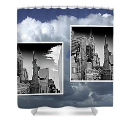 Shower Curtain featuring the painting Las Vegas,new York by Athala Carole Bruckner