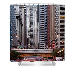 Lasalle Street Canyon With Chicago Board Of Trade Building At The South Side II - Chicago Illinois Shower Curtain by Silvio Ligutti